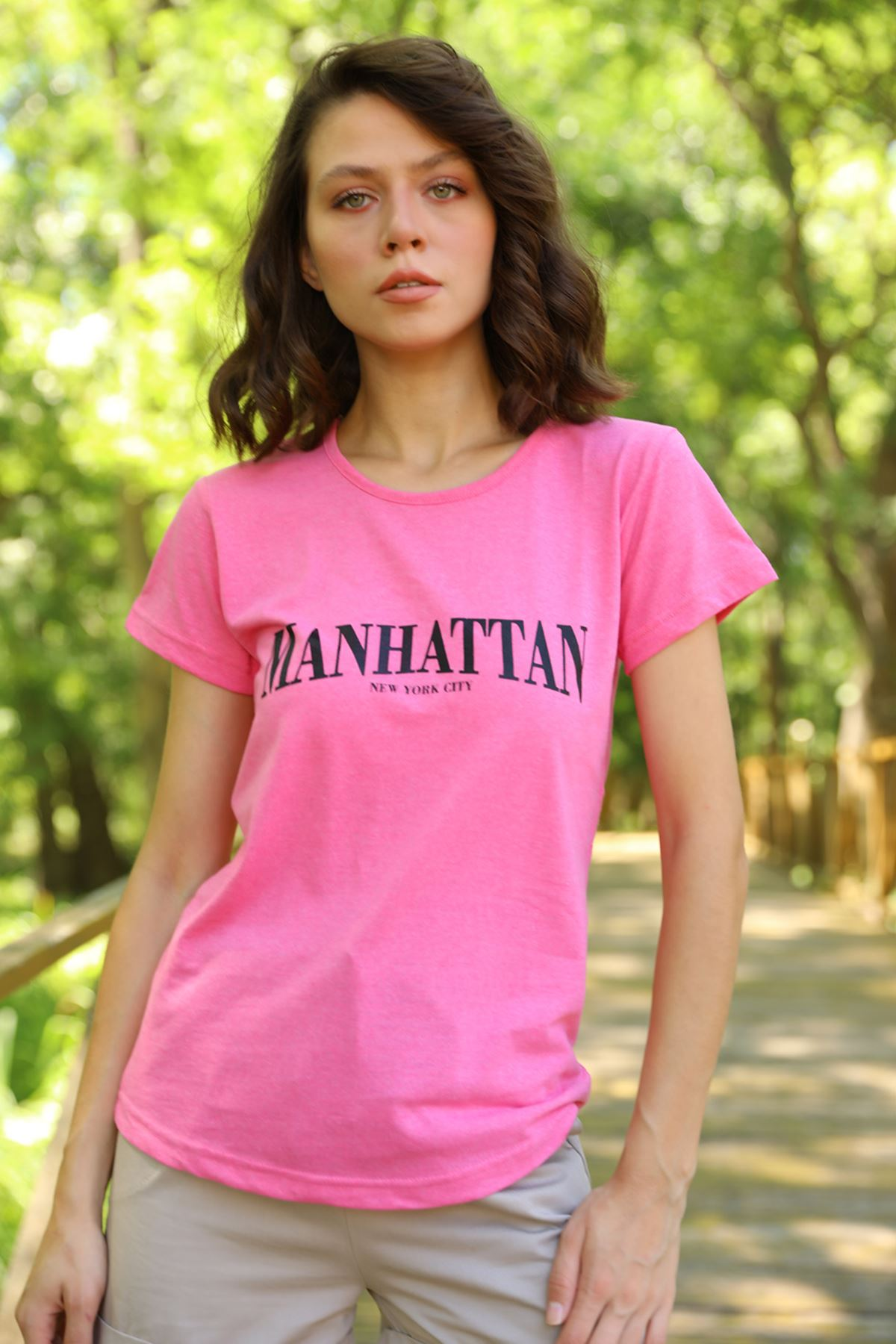 PRT-065 MANHATTAN BASKILI T-SHİRT-PEMBE