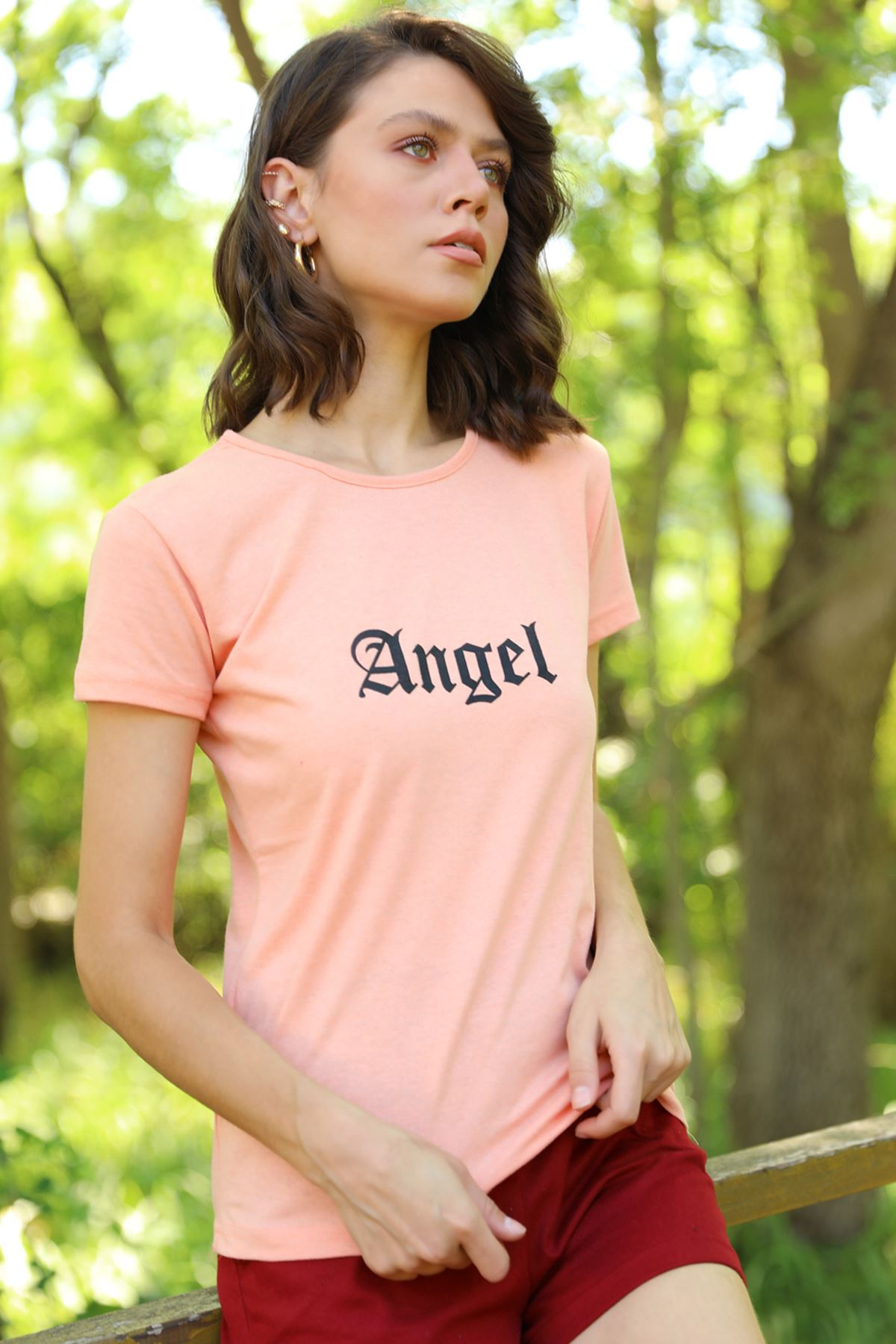 PRT-067 ANGEL BASKILI T-SHİRT-SOMON