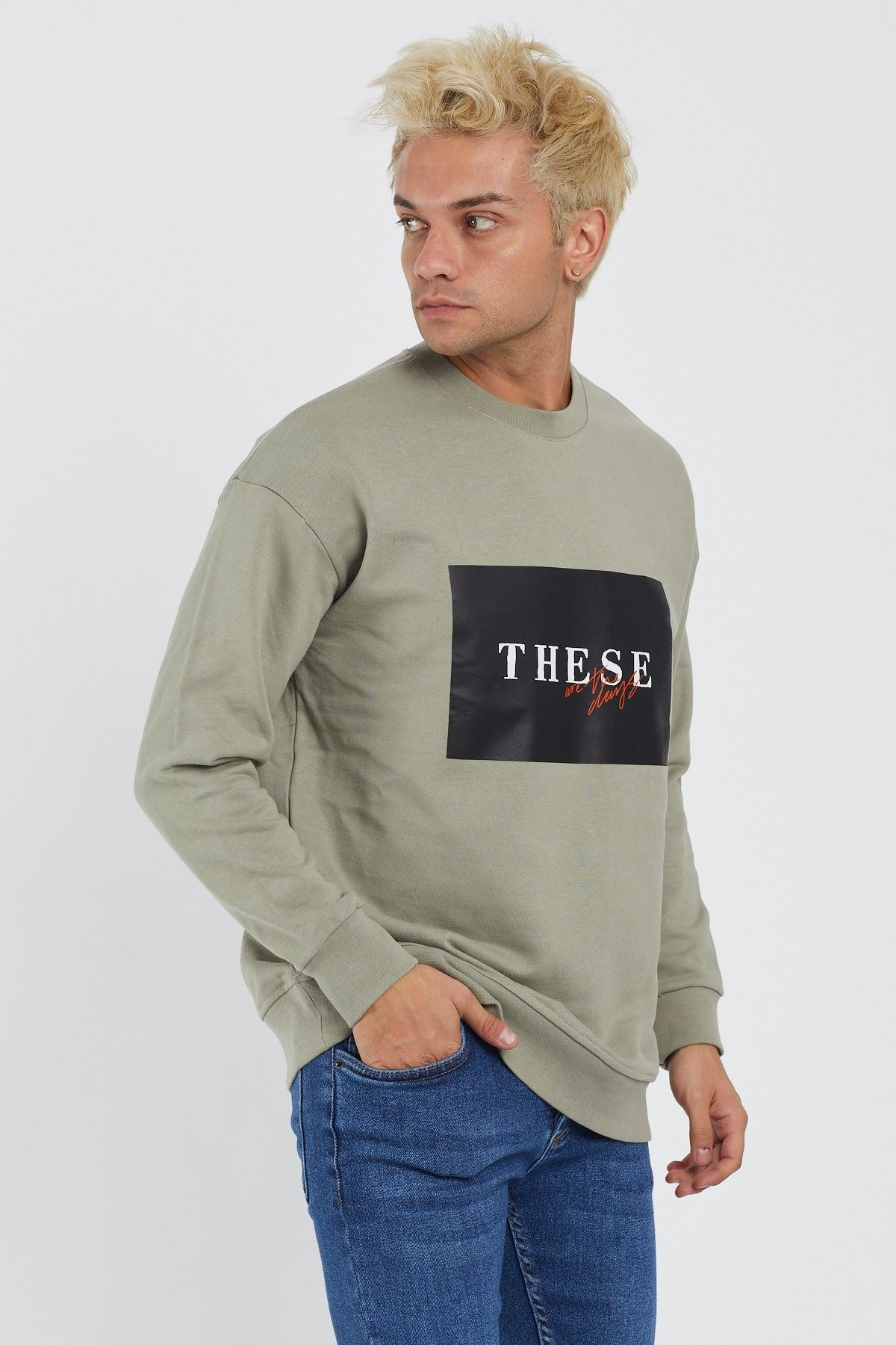 Erkek These Are The Days Baskılı Haki Sweatshirt