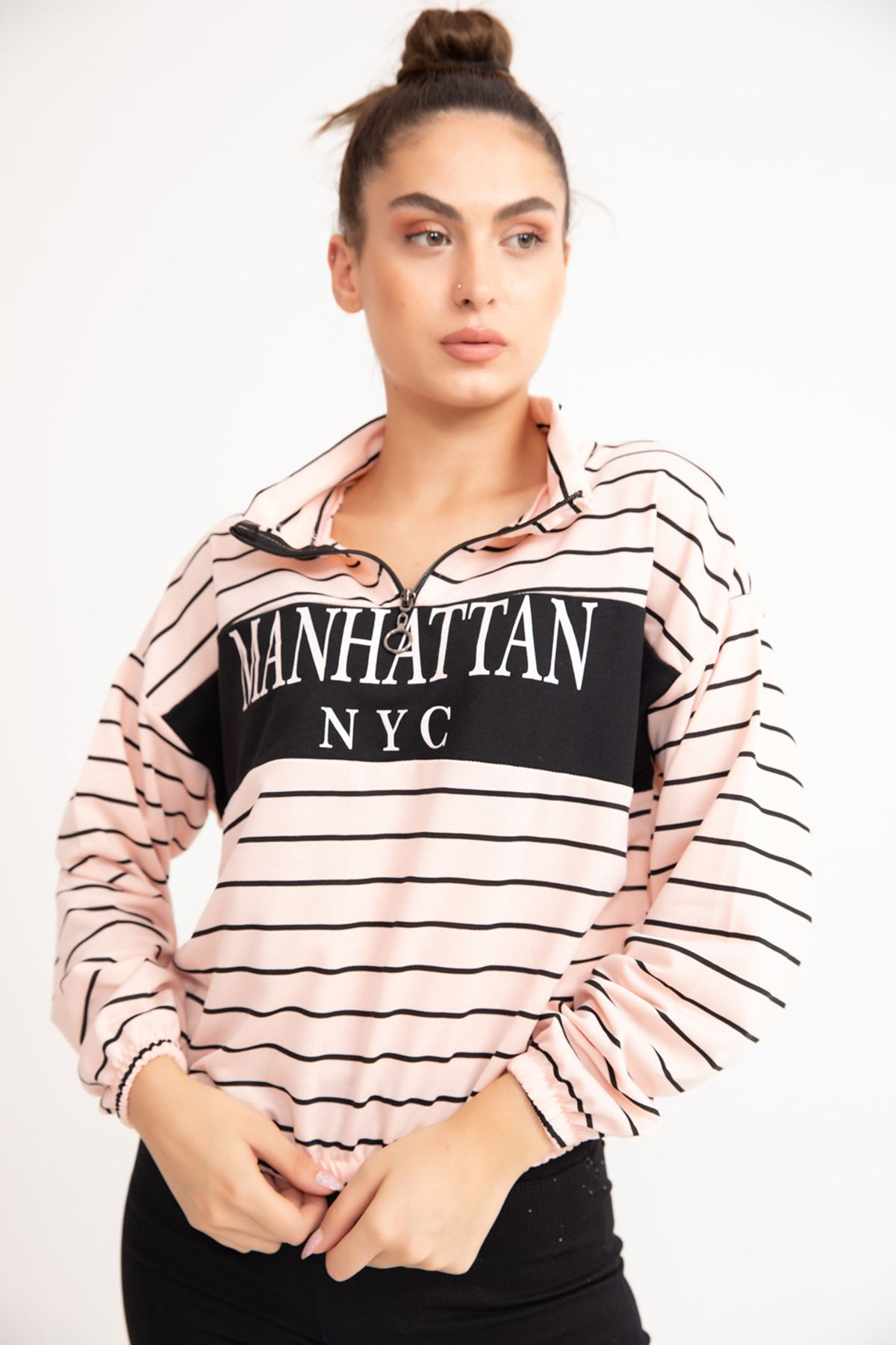 ONT-2115 YARIM FERMUARLI MANHATTAN BASKILI SWEAT-SOMON
