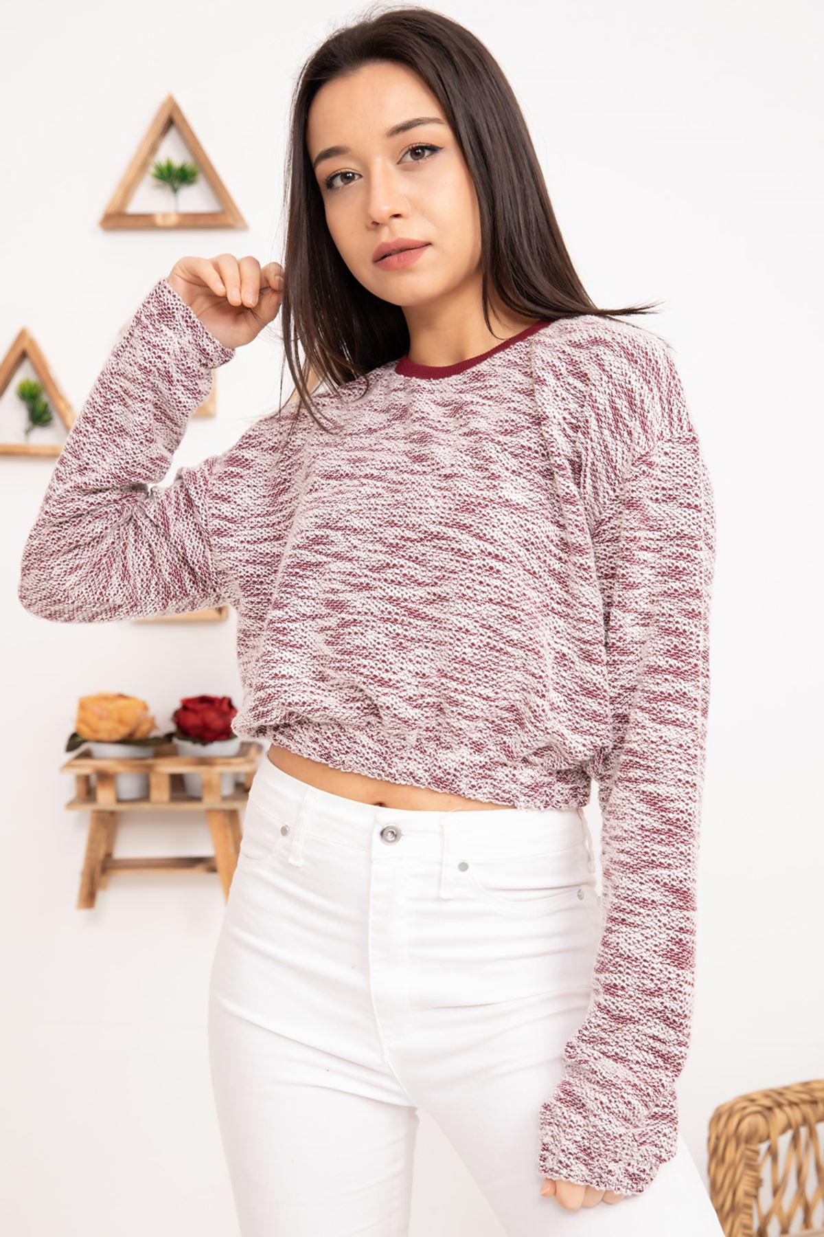 FVR-201802 BEL LASTİKLİ KISA SWEAT -BORDO