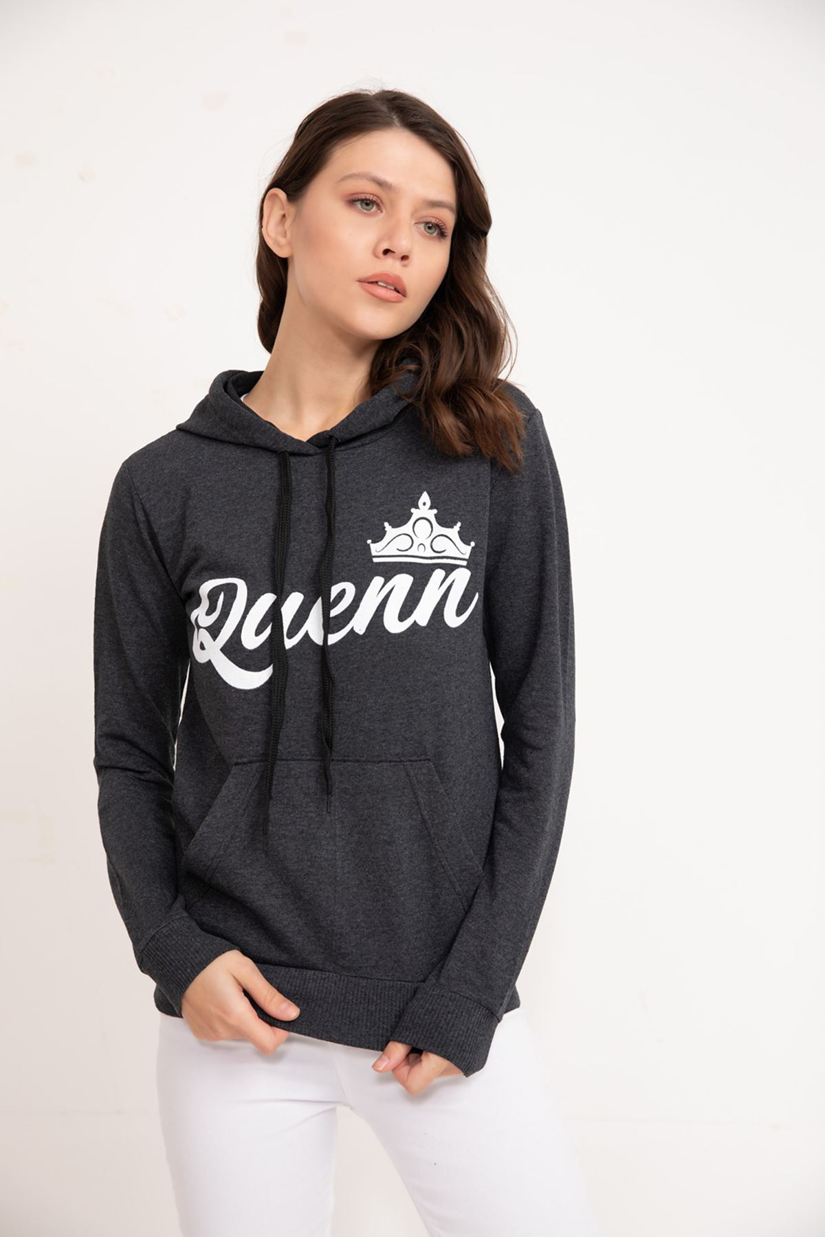 PRT-096 QUEEN BASKILI BAYAN SWEAT-ANTRASİT